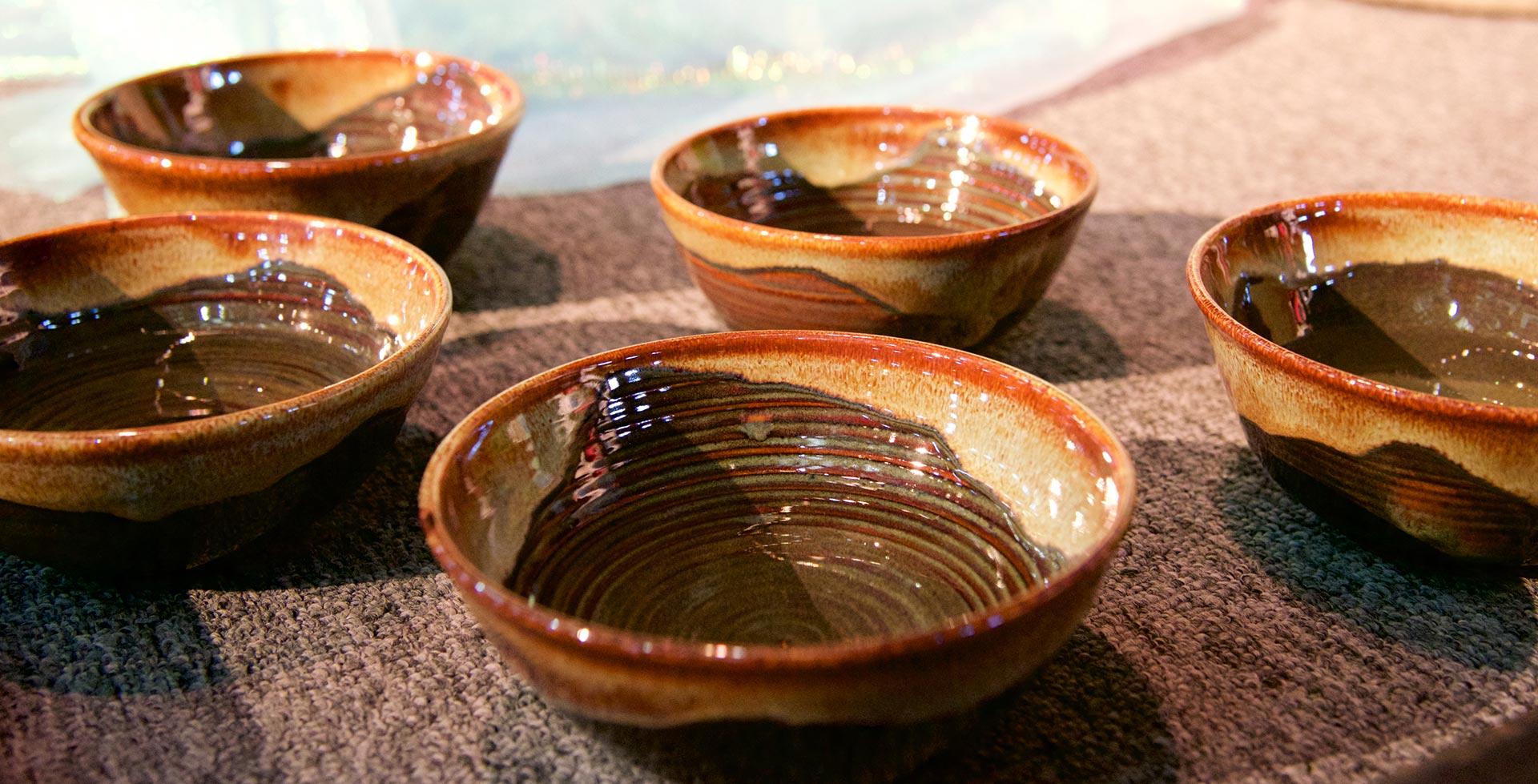 Five ceramic bowls