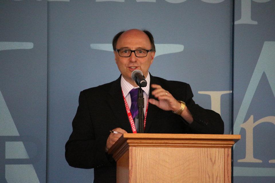 Bishop David Bard addresses delegates of the 2019 General Conference