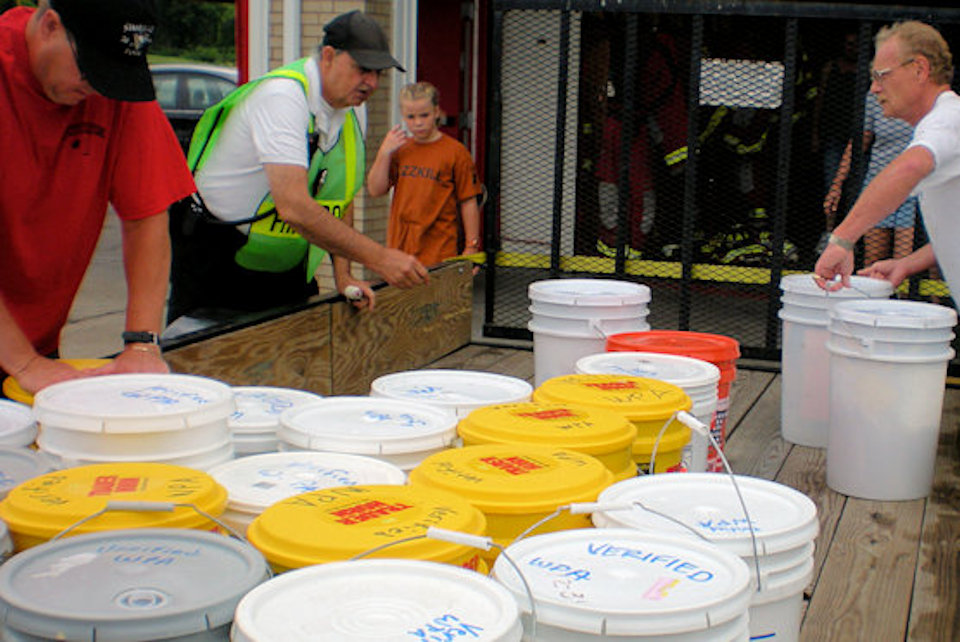 Cleaning Kits being prepared for shipping to a disaster site