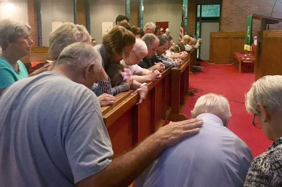 Church members pray for Jadon Olsen