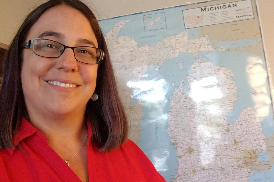 Laura Witkowski and map of Michigan