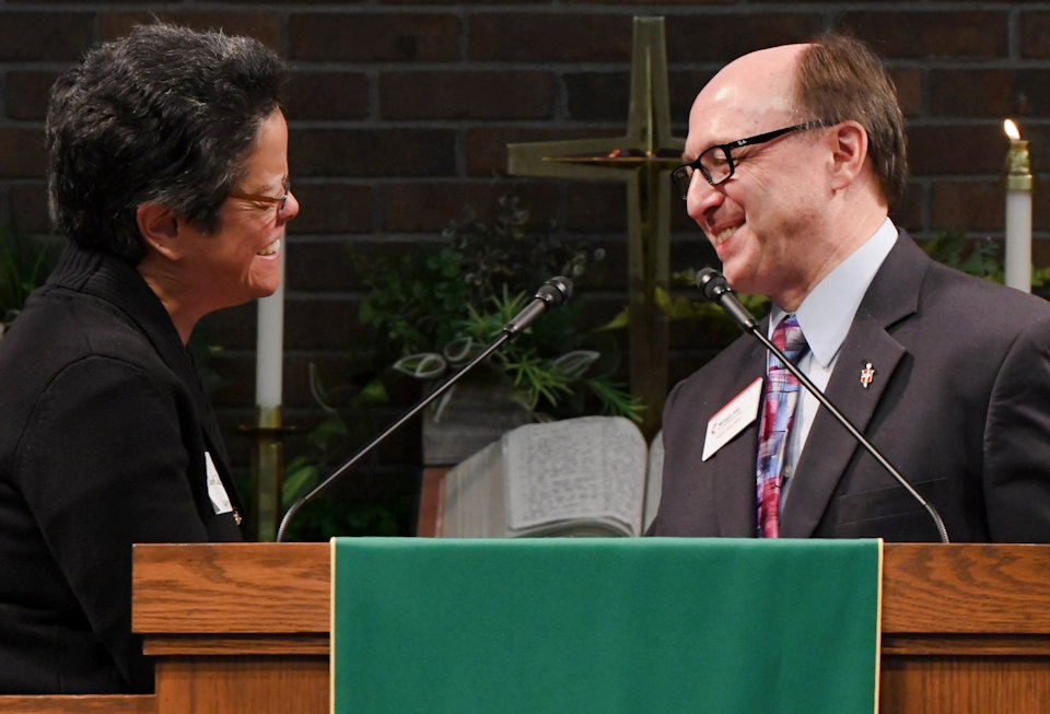 Bishop David Bard and Rev. Jennifer Jue at the Michigan Area Asian American Ministry Event