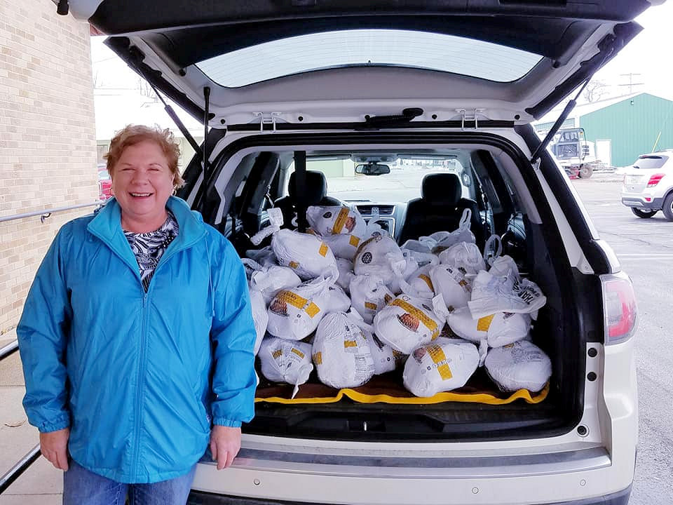 Woman will car full of frozen turkeys