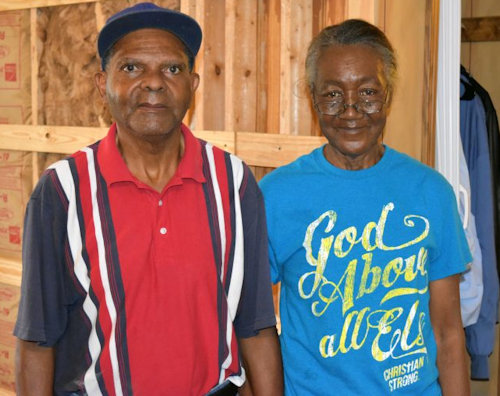 Homeowners being helped by volunteers in South Carolina