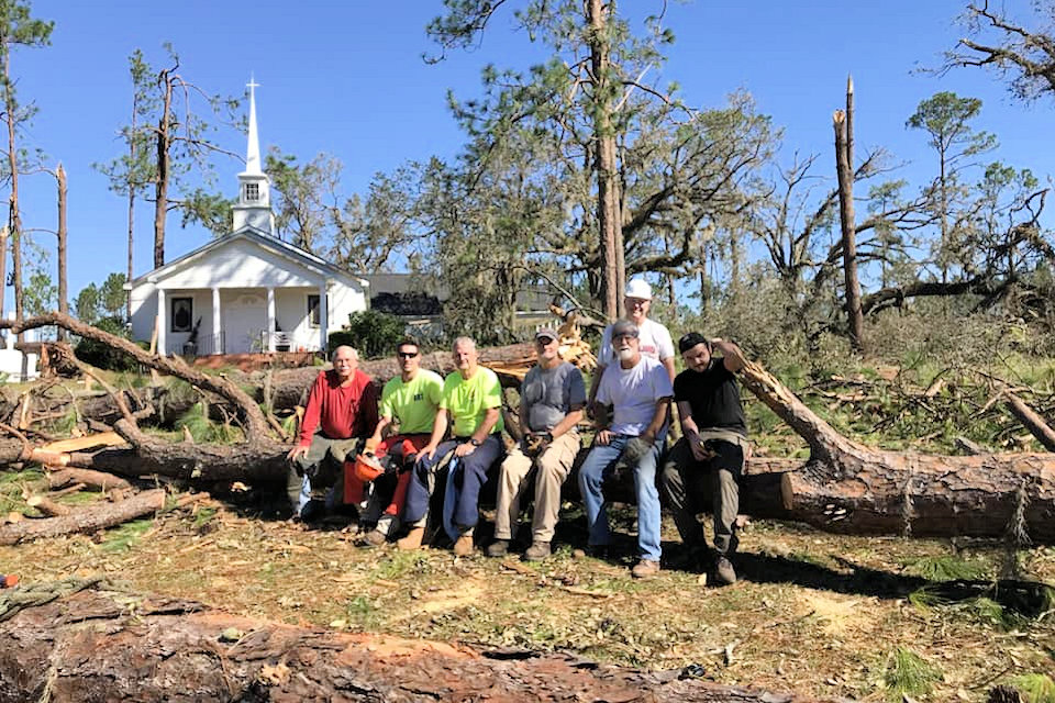 Early Response Team members rest from work in Georgia after Hurricane Michael.
