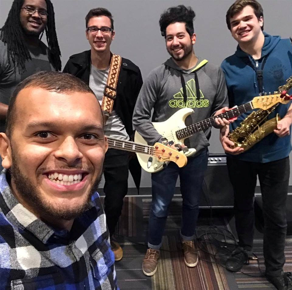 Asti White, Global Mission Fellow, with musicians at Kalamazoo Wesley
