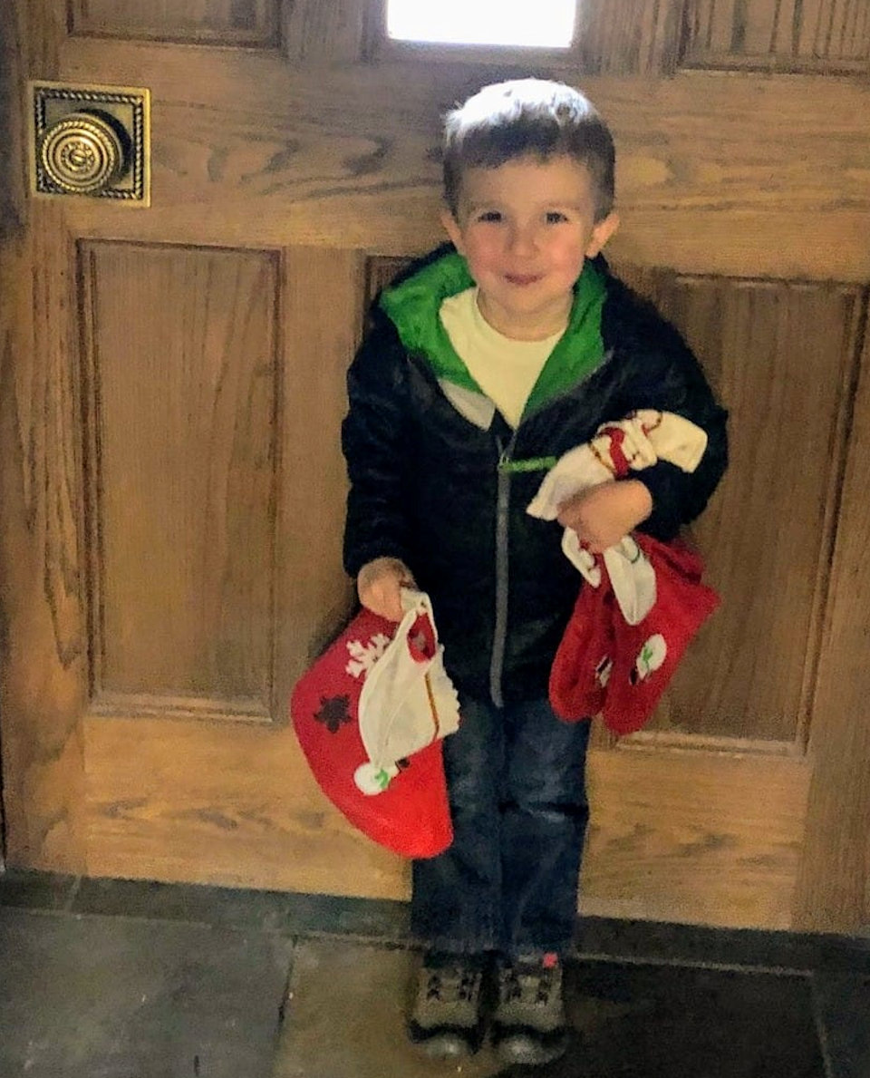 Boy delivering gifts