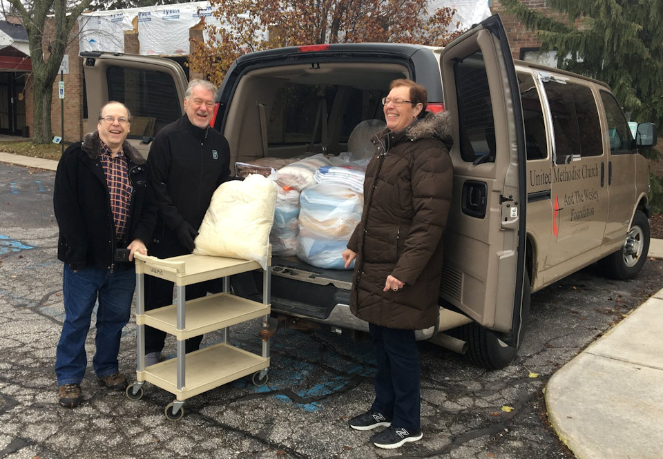 Van load of blankets going to Midwest Distribution Center