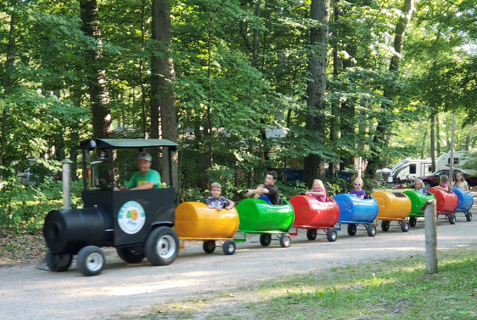 Mini train at lakeivew Campground