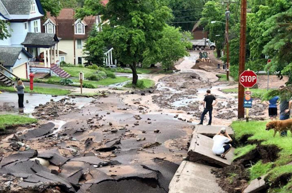 Streets destroyed by flood in Houghton, MI