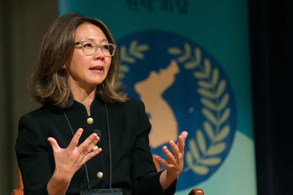 Christine Ahn representing women for peace in Korea