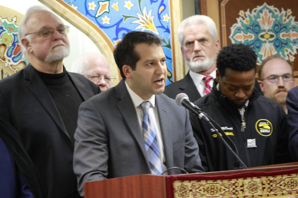 Rev. Paul Perez speaks at an Interfaith Event in Dearborn