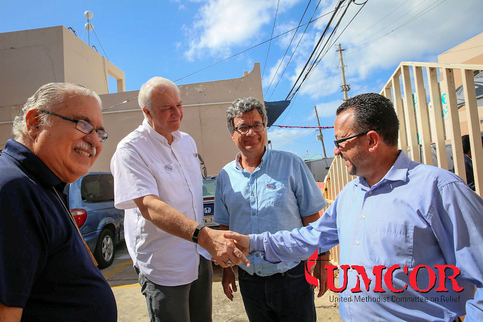 UMCOR officials with Methodist Bishop of Puerto Rico visiting Hurricane Maria damage