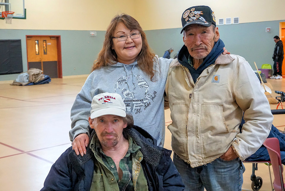Three Alaska residents who sought refuge in a United Methodist Church after the recent earthquake.