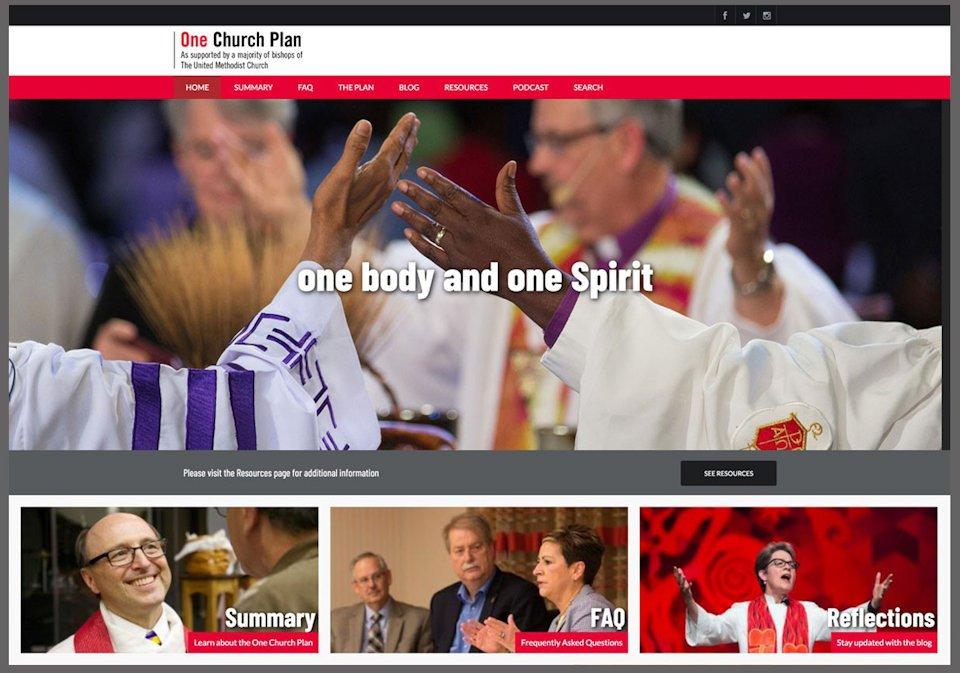 Homepage of One Church Plan website