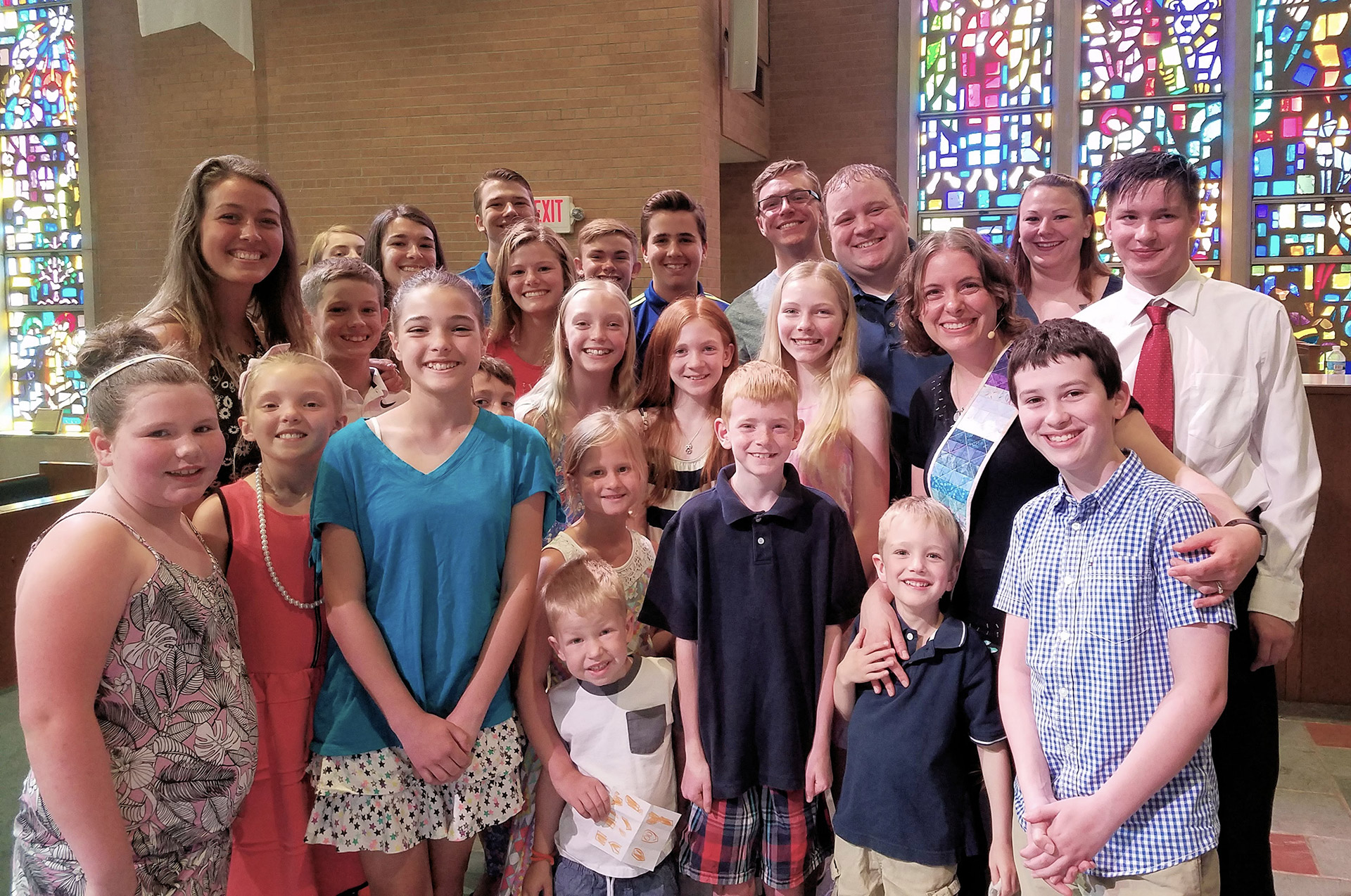 Rev. Cathy Pittenger with young people of Waterford Central UMC