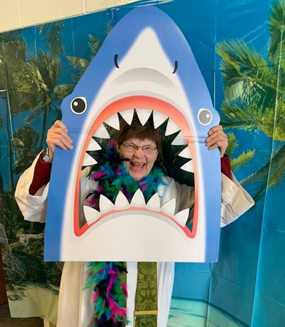 Pastor Becky Morrison gets devoured by a shark
