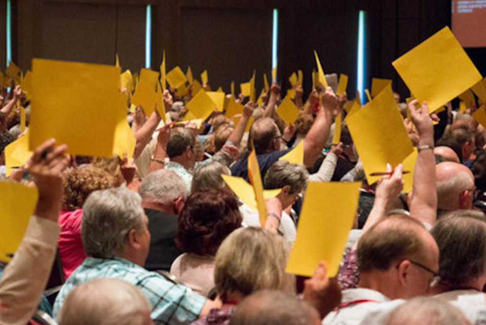 People voting at Annual Conference