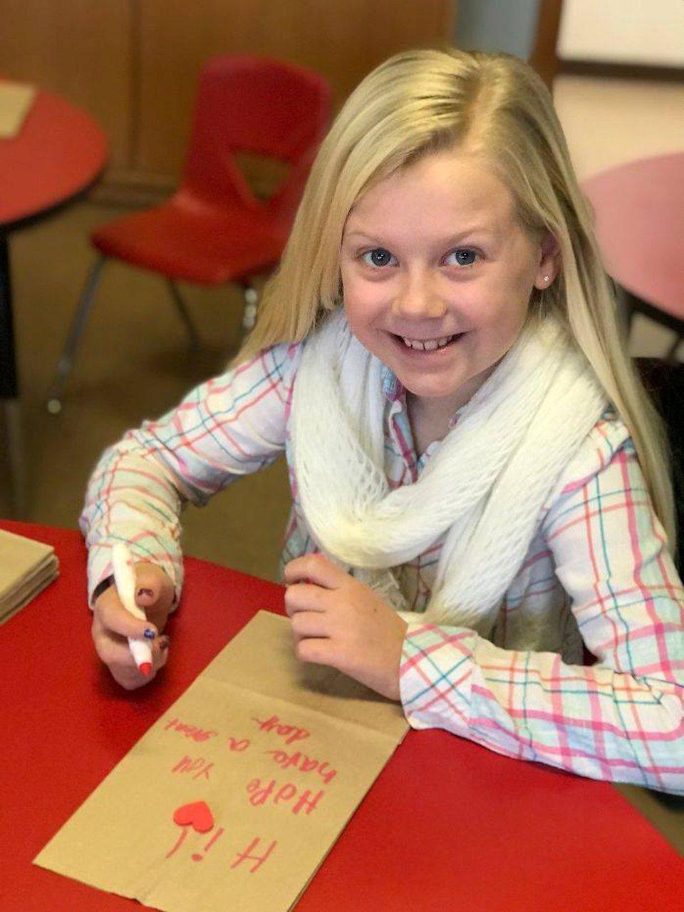 Girl decorating Kids Food Basket bag