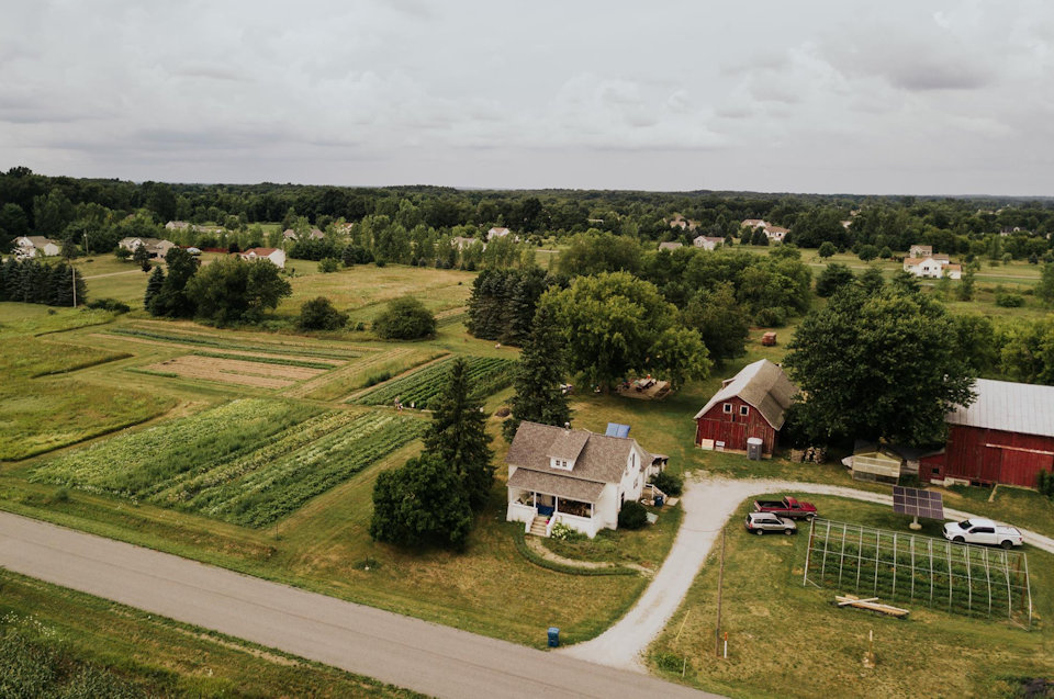 Aerial view of Plainsong Farm