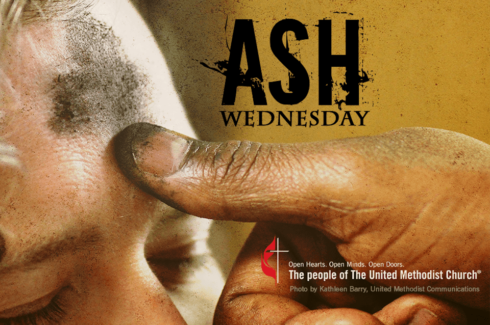 Ashes applied to a woman's forehead