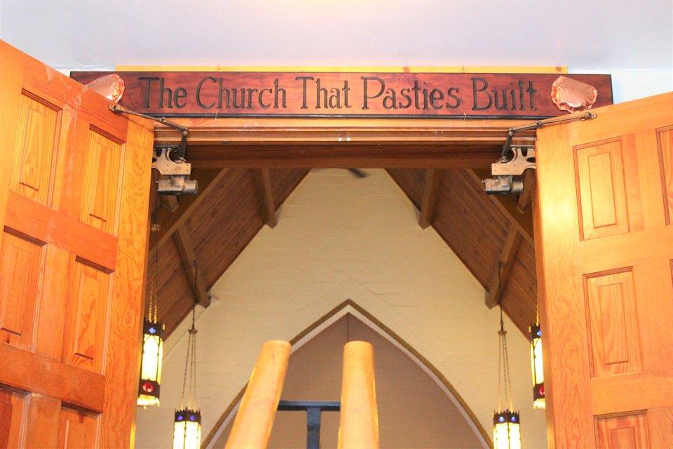 Sign over sanctuary door