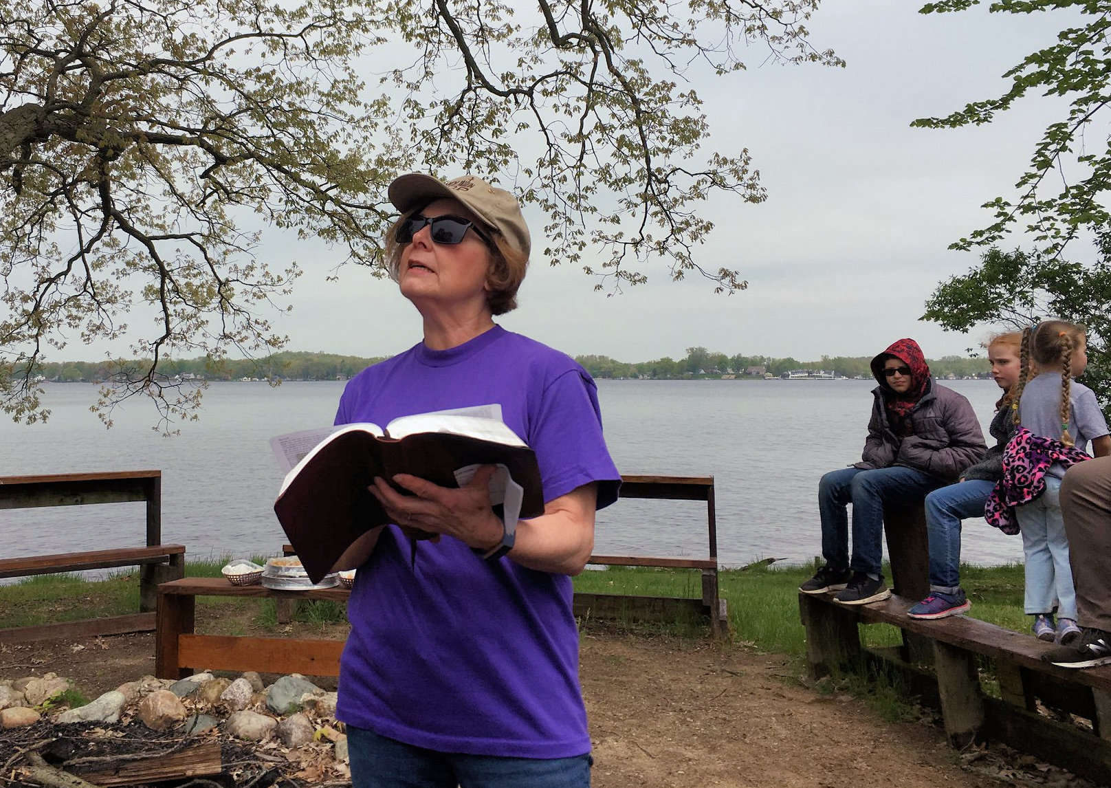 Woman talking outdoors