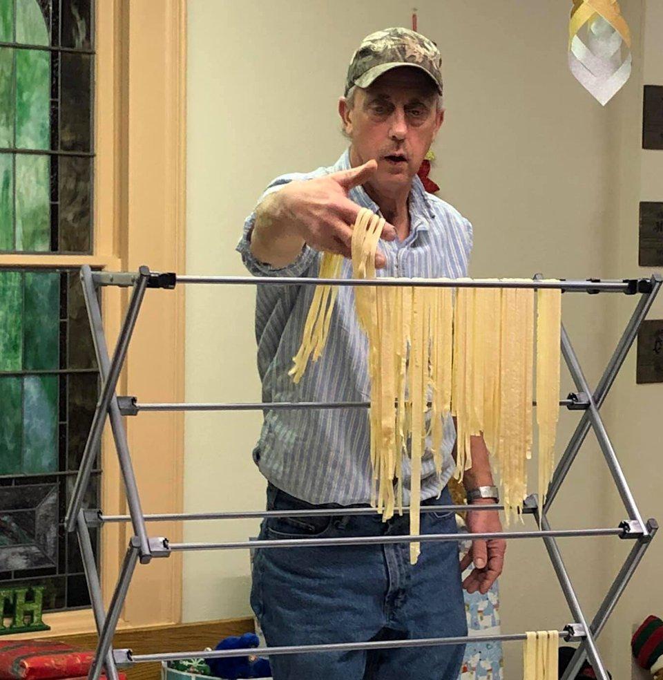 Making homemade noodles