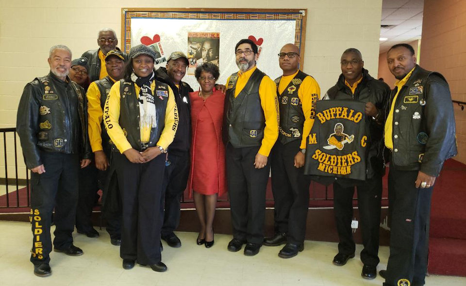 Buffalo Soldiers motorcycle group visits Conant Avenue church.
