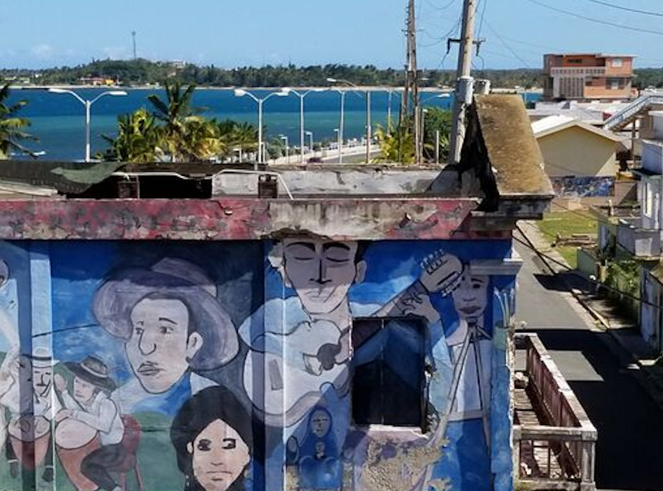 Murals on the wall in Arecibo, Puerto Rico