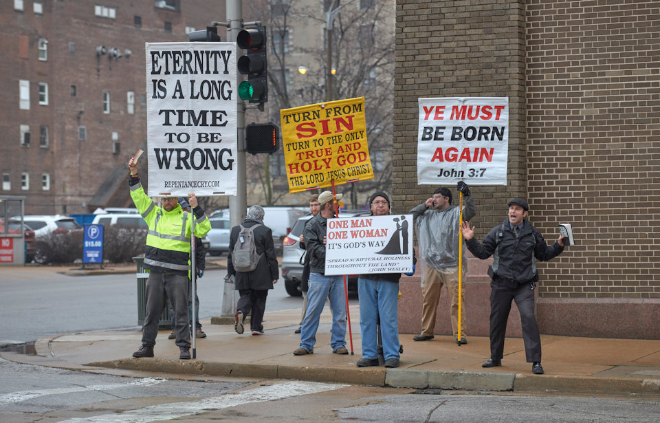 Activists outside the conventional center in St. Louis.