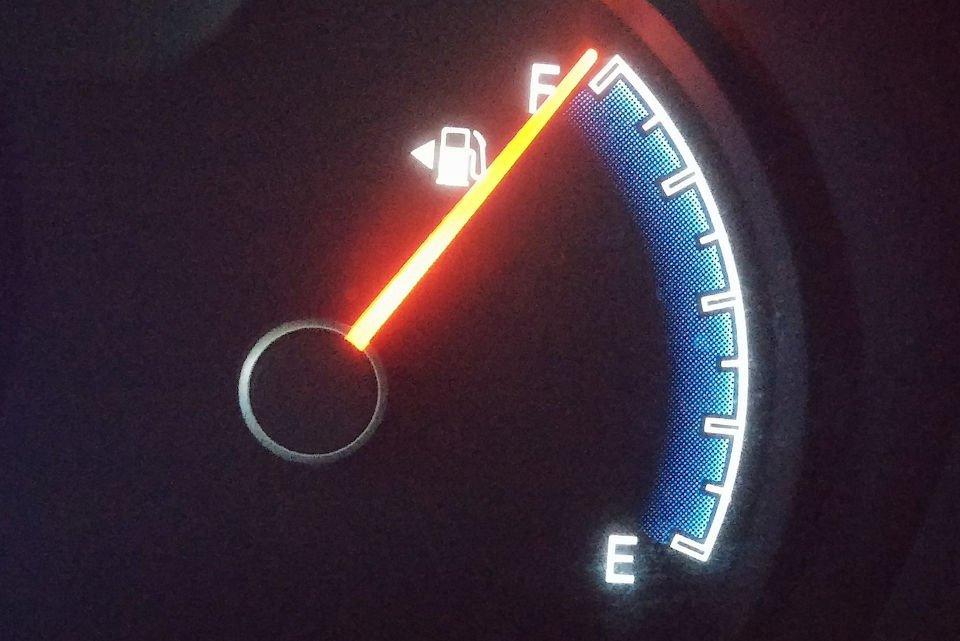 Gas gauge reading full