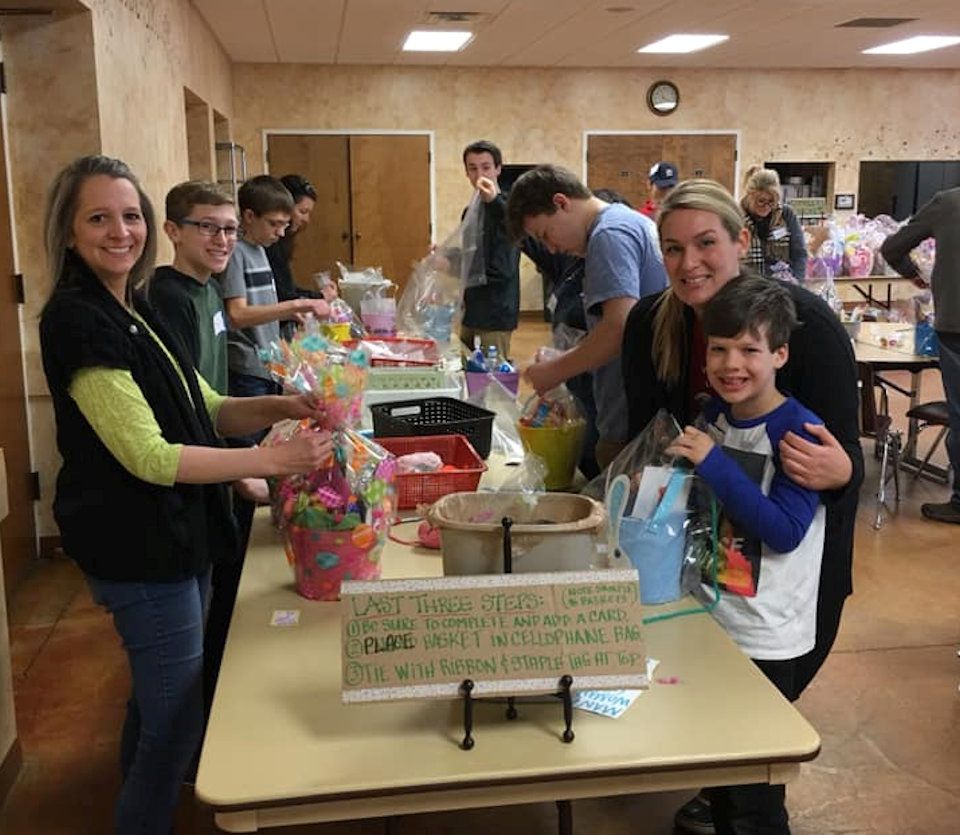Making baskets for needy