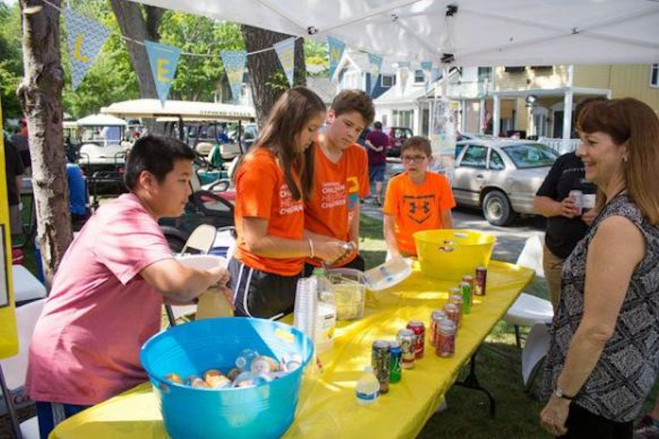 Youth running a lemonade stand
