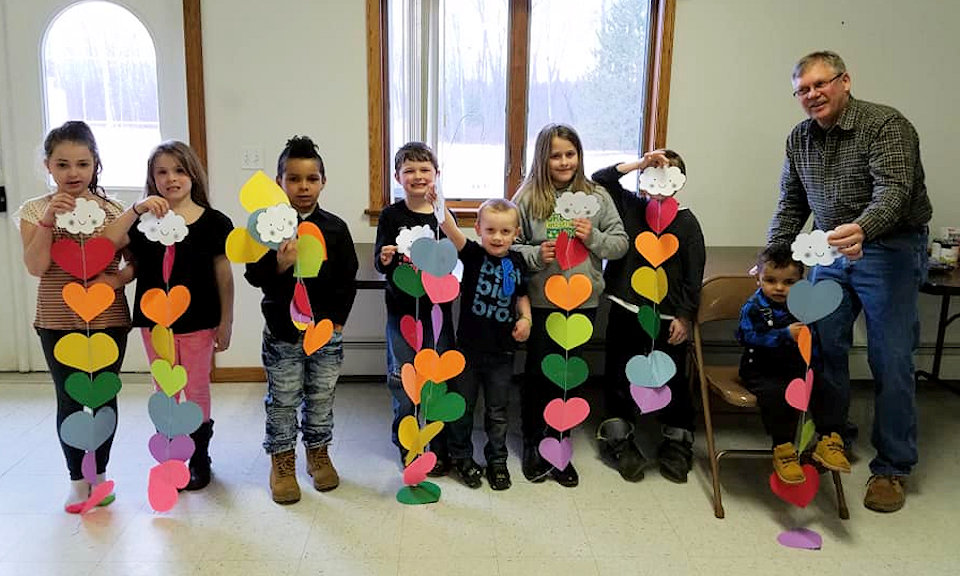 Sunday School class with hearts