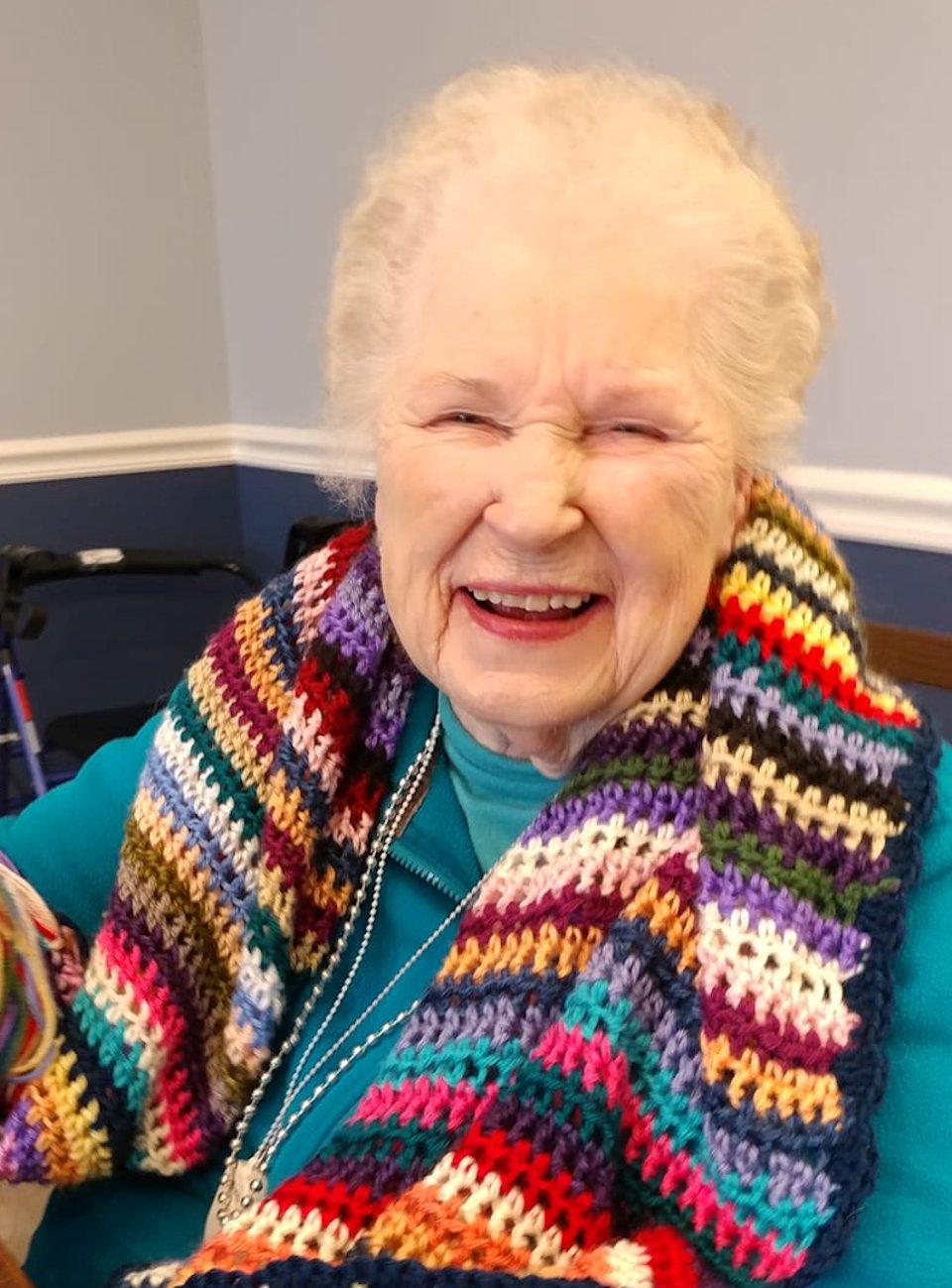 Woman wearing prayer shawl