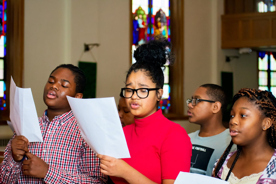 Youth singing at Temple UMC in Muskegon Heights