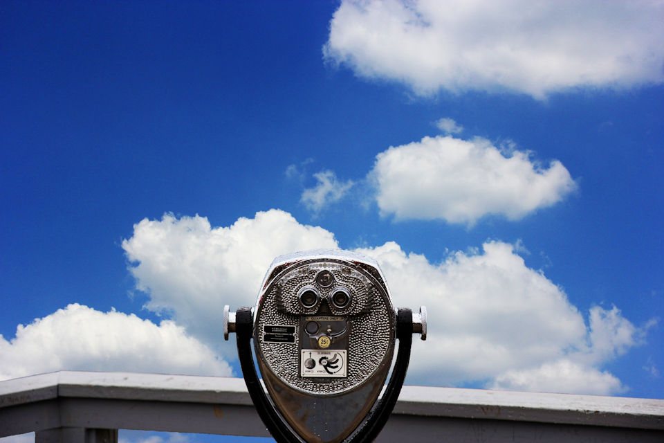 Telescope pointed into clouds