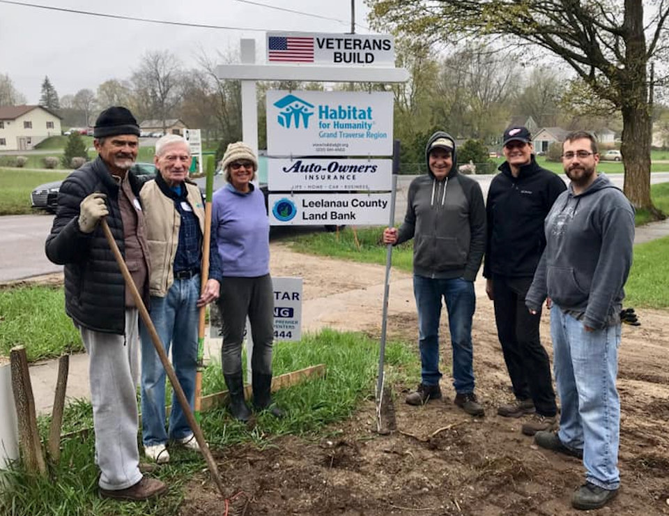 Volunteers at a Habitat for Humanity site