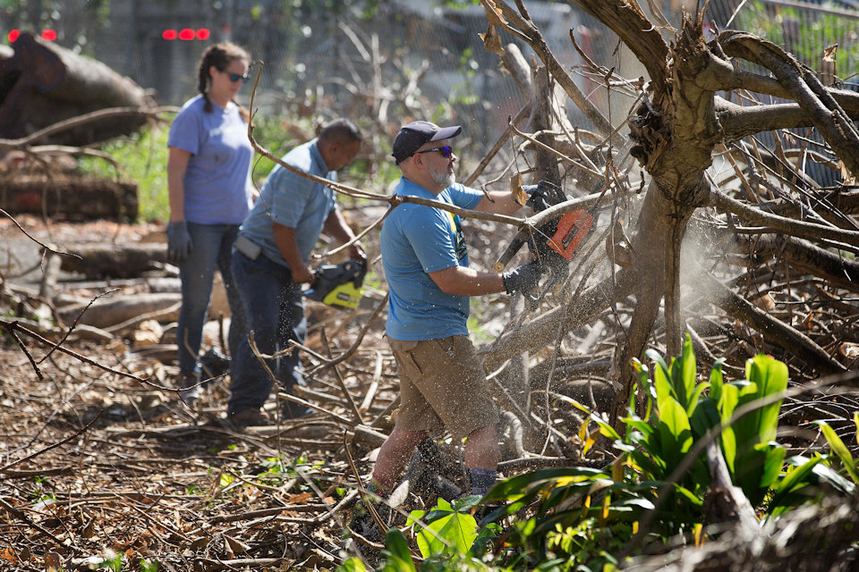 Volunteers clearing debris from Hurricane Maria in Puerto Rico