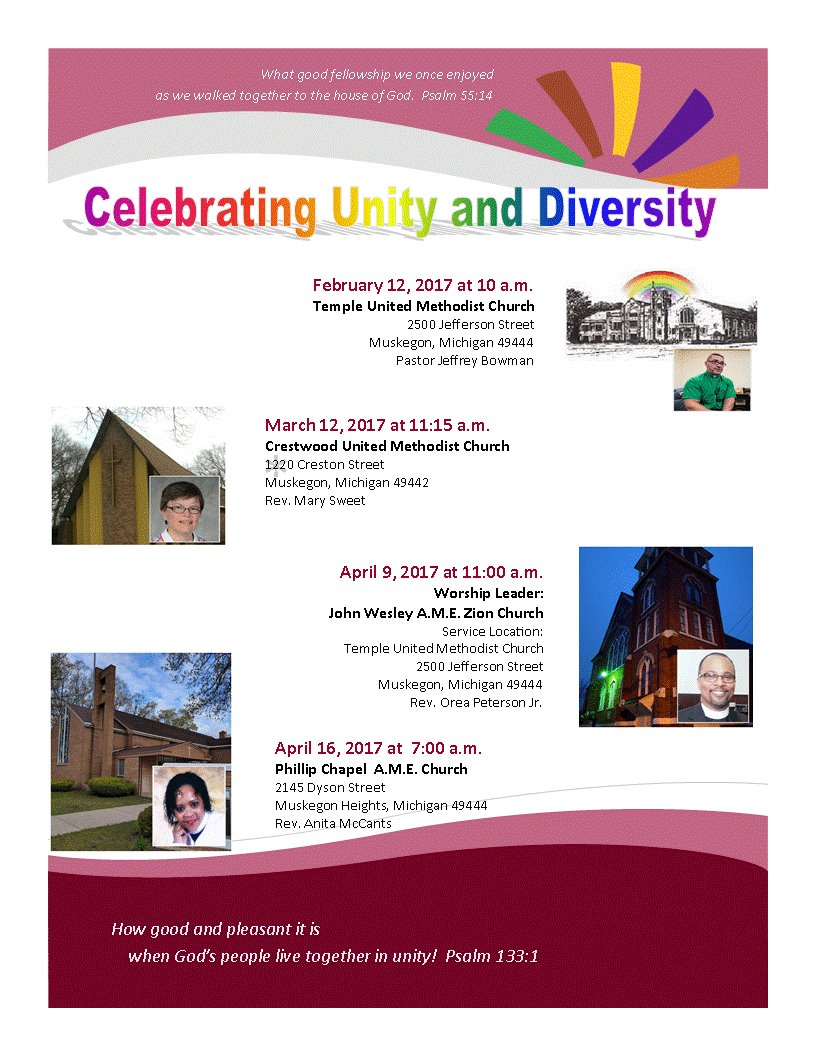Flyer announcing Unity in Diversity services