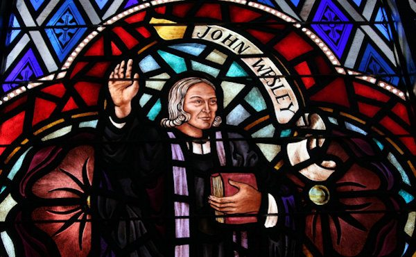 A stained glass window of John Wesley. Photo by Ronny Perry, UMNS
