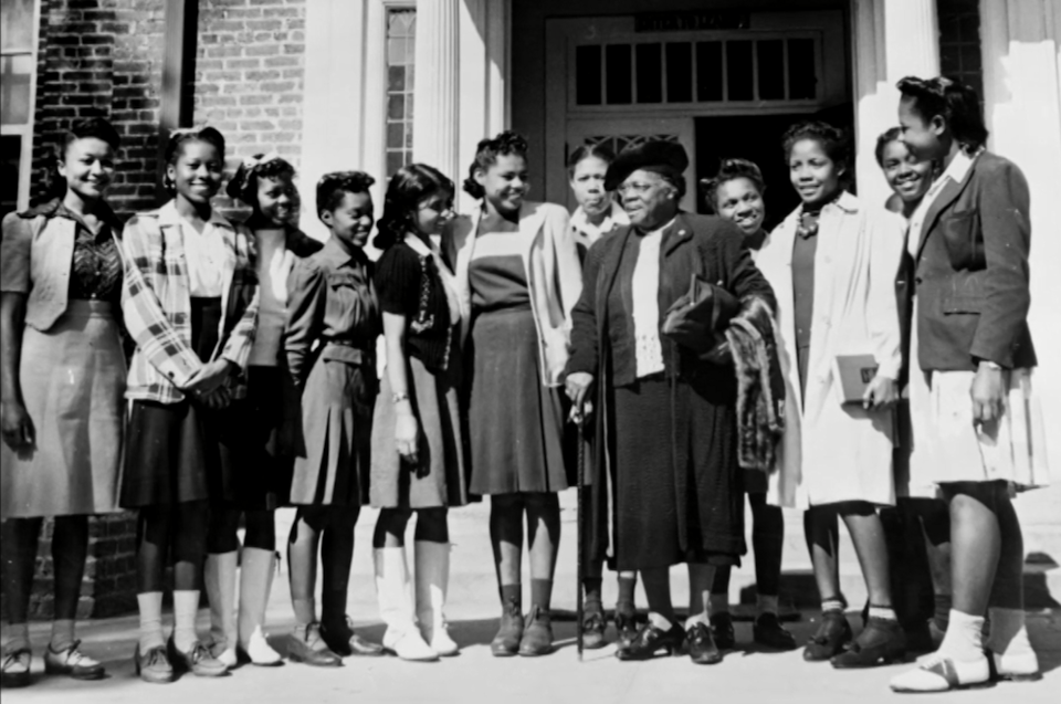 Mary McLeod Bethune with college students.