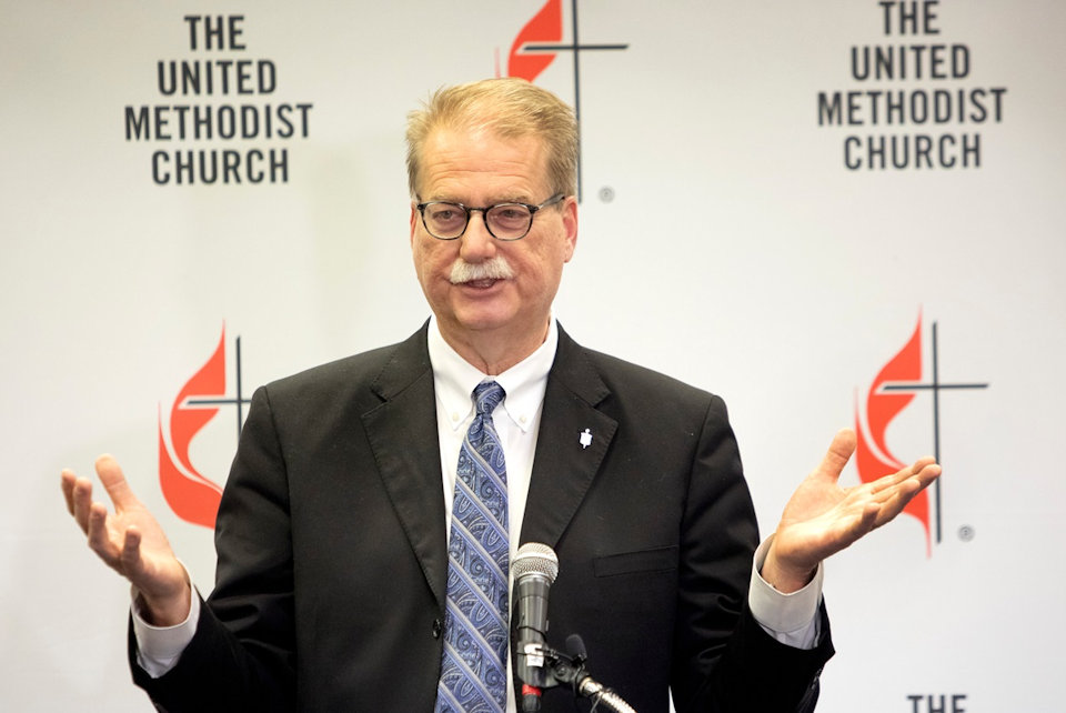 Bishop Carter speaks at a press conference.