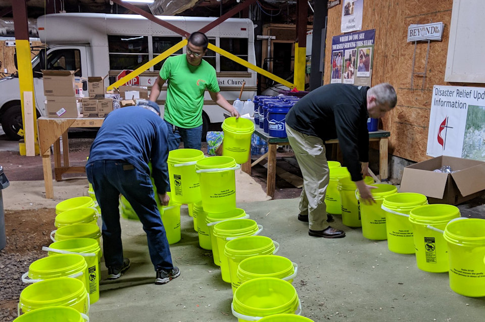 Cleaning Buckets being made ready for use after storms in the southern U.S.