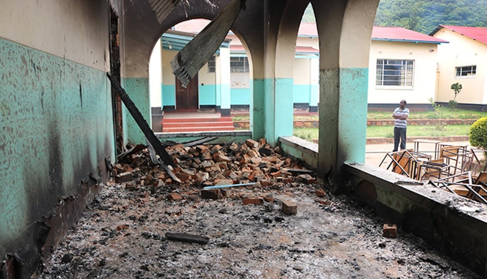 Fire damage to Old Mutare school