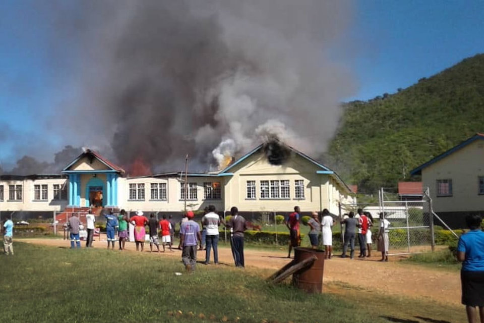School in Zimbabwe burning