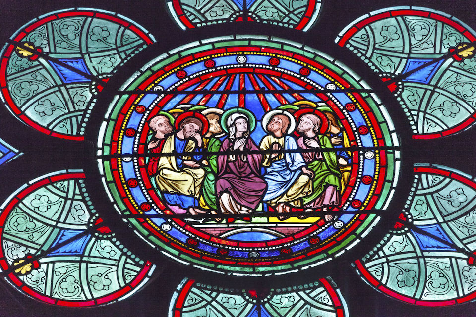 Stained glass window from Notre Dame Cathedral, Paris.