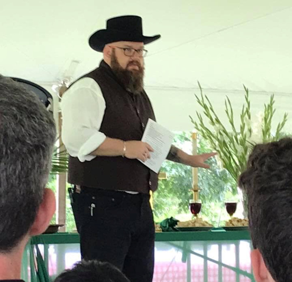 Pastor Mike Desotell portrays circuit rider