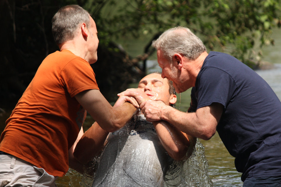 Baptism in the Huron River. The family of God grows.